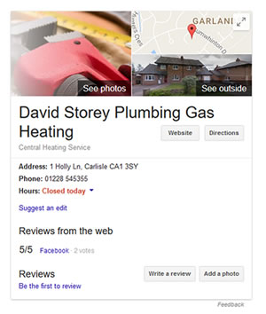 Plumber website on Google Local Business